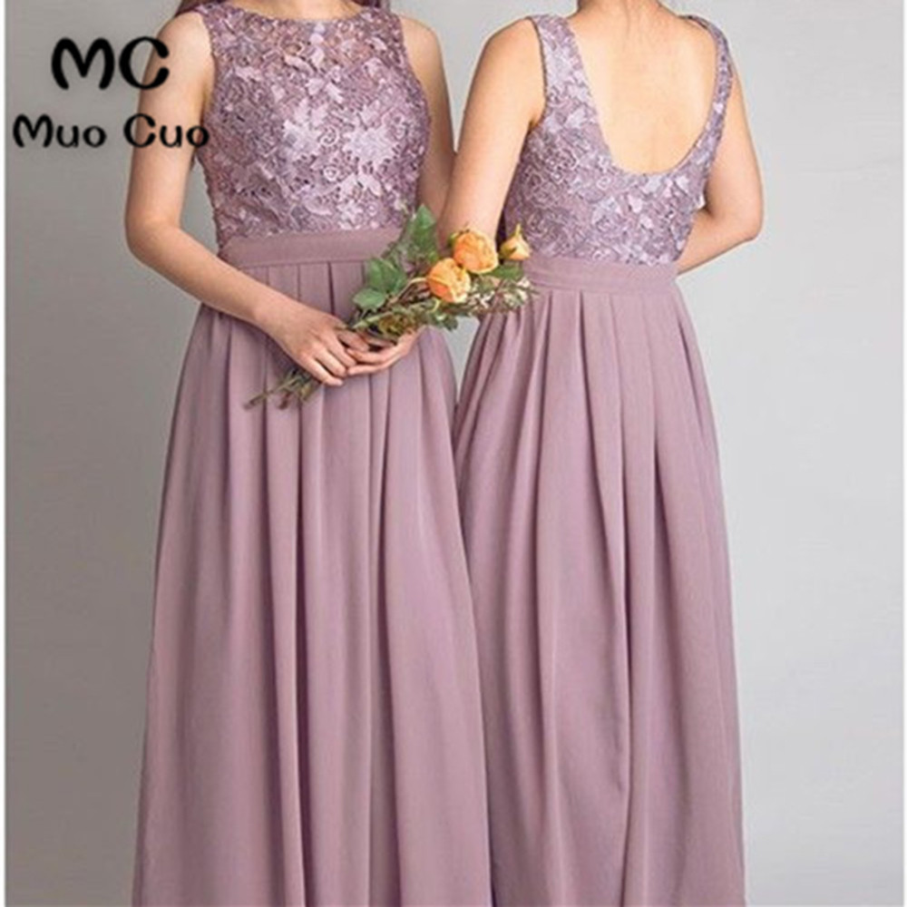 2018 Lace   Bridesmaid     Dress   with Draped Violet Wedding Party   Dress   Chiffon Tank Sleeveless Backless Prom   Bridesmaid     Dresses