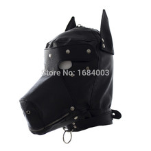 Breathable Fetish BDSM Play Doggy Head Sex Hoods Mask Cosplay Bondage Restraints Sex Toys For Her Faux Leather Black