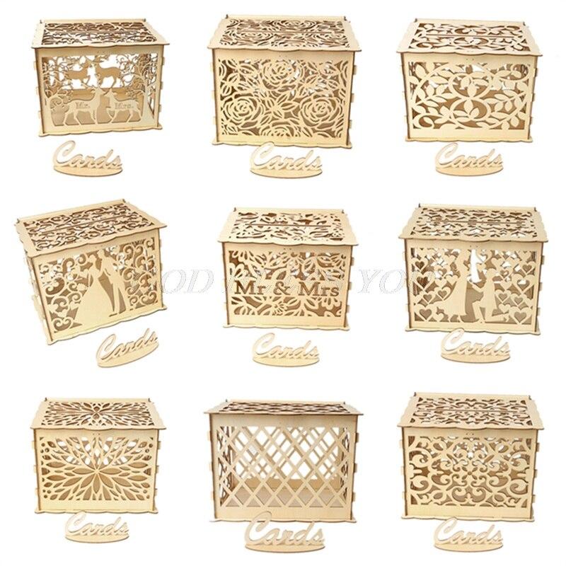 Diy Wedding Gift Card Box Wooden Money Box With Lock Beautiful