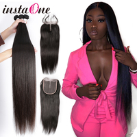 Instaone 7A Brazilian Hair Weave Bundles With Lace Closure Raw Virgin Straight 100% Human Hair Extension Weaves and 4*4 closures
