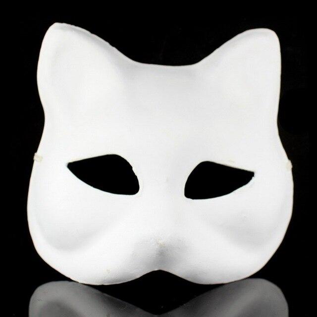 Sin pintar papel blanco pulpa gato Máscaras DIY ambiental pintura de ...