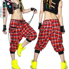 Детская, взрослая, Женская Одежда для танцев, брюки, лоскутный костюм ds, Капри, спортивные штаны, весна-лето, женские клетчатые шаровары в стиле хип-хоп