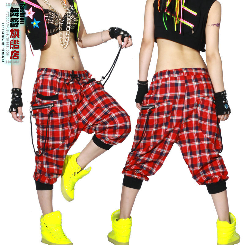 Kids Adult Women dance wear Trousers patchwork ds costume Capris sweatpants spring summer female plaid harem Hip hop pants