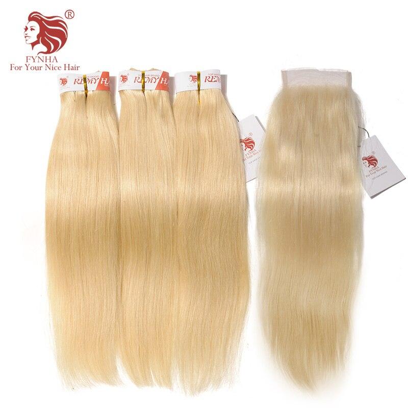 [FYNHA] прямо бразильский плетение волос 3 Связки с закрытием 613 блондинка человеческих волос