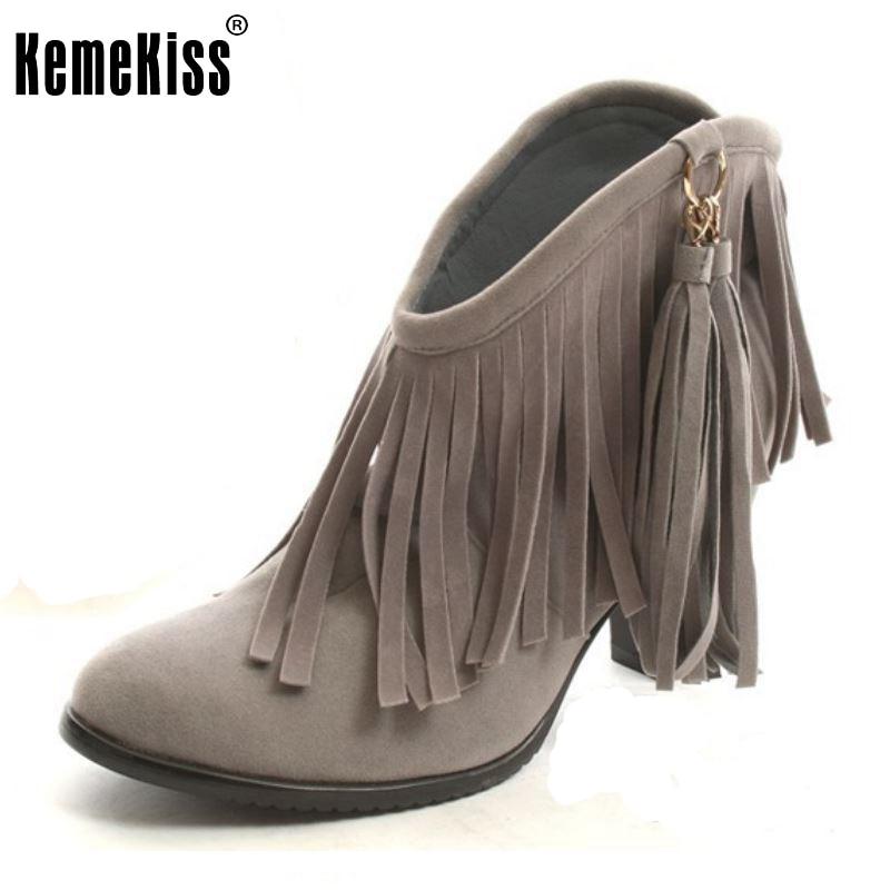 Autumn Winter Ankle Boots High Heel Fringe Boot Women Fashion Gladiator Tassel Shoes Botas De Inverno Footwear Size 34-43