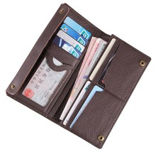JMD 100% Genuine Leather Long Wallet  Coffee Business Card Holder Classic Case 8061C