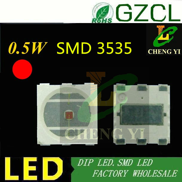 (ce & Rosh) 0,5 Watt High Power Smd 3535 Smd Led 3mm Red Chip Führte 620-625nm 150ma