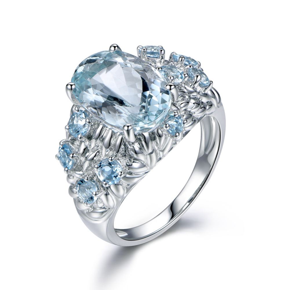 Lady Engagement Wedding Charming Jewelry Blue Artificial Women Finger Ring Gift charming embellished blue rhinestone wedding ring