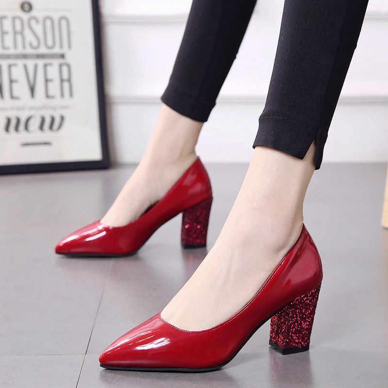 2020 sonbahar yeni düşük topuklu ayakkabılar sivri kadın kaba 7cm yüksek topuklu siyah payetli ayakkabı Sandalias femeninas s086
