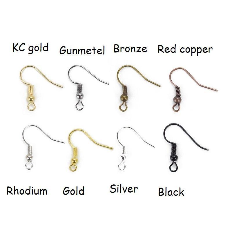 200pcs KC Gold/Silver/Gun Black/Antique Bronze/Gold/Copper Ear Wire Hook For DIY Earrings Hooks Findings Components Accessories