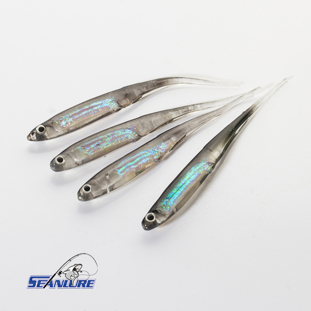 Seanlure 4pcs/Pack 10cm 3g Jelly Fish Soft Lure Foil Inside Plastic Artificial Lure Isca Pesca 4 Colors Optional Fishing Tackle