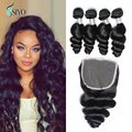 Grade7a unprocessed Indian virgin hair loose wave 4pcswith lace closure,cheap curly hair with closure human hair weaving on sale