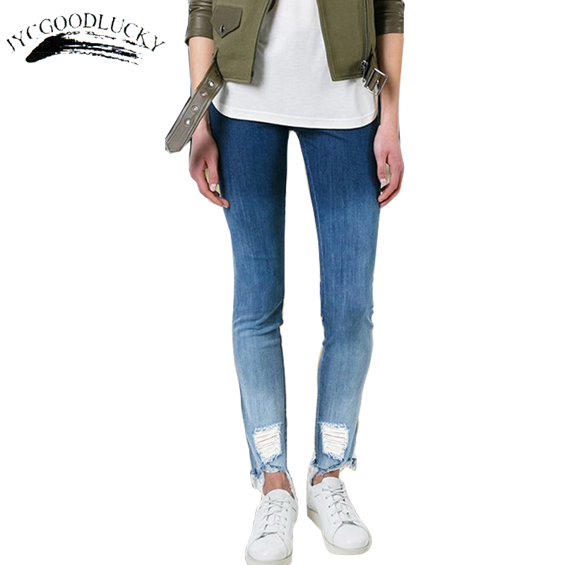 Gradient Fashion Worn Jeans Women Calca Jeans Feminino 2017 New Slim Women's Jeans Low Waist Skinny Ripped Jeans For Women Mujer