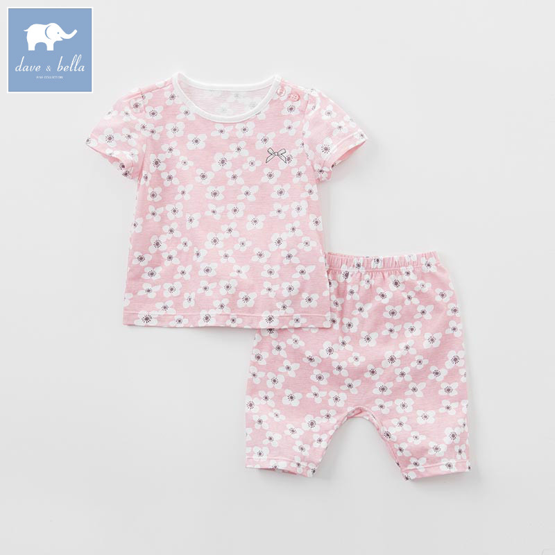 DB7566 dave bella summer baby girls pink floral clothing sets children infant toddler suit kids high quality clothes