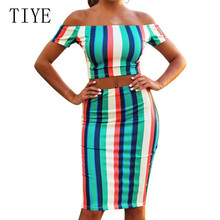 TIYE Two Pieces Sets Street Style Summer New Arrival Retro Striped Dress Sexy Hollow Out Off Shoulder Bodycon Bandage