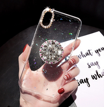 Kuutti Squishy Luxury Rhinestone Airbag Bracket Finger Holder Glitter TPU Women Phone Cases for iPhone 6 6s 7 8 Plus X XR XS Max