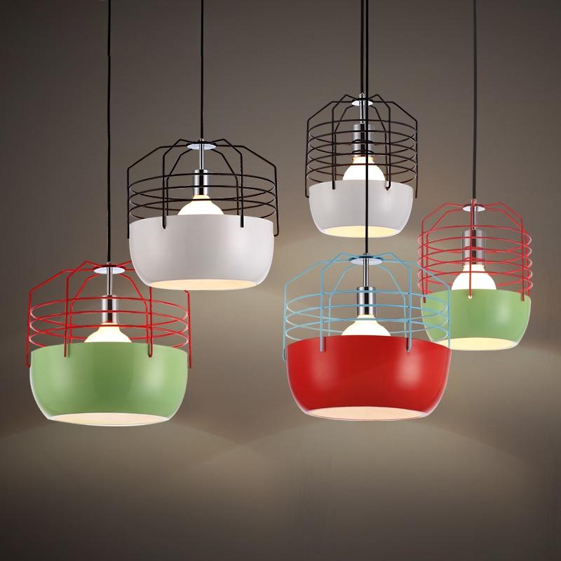 ₪Modern Hanging Lamps Metal Cage Pendant Lights Fixture Restaurant ...