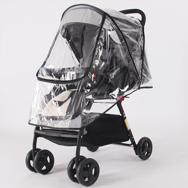 Accesorios para cochecito impermeable cubierta de lluvia transparente polvo de viento escudo cremallera abierta para Cochecitos de bebé Cochecitos impermeable