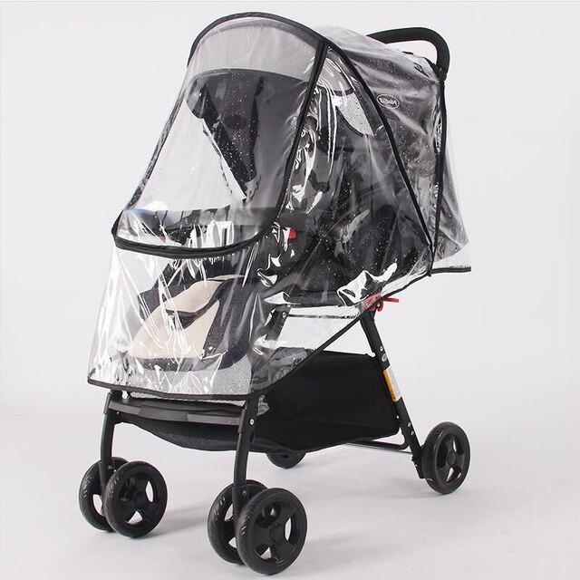 Accesorios para cochecito impermeable cubierta de lluvia transparente protector de polvo de viento cremallera abierta para cochecito de bebé