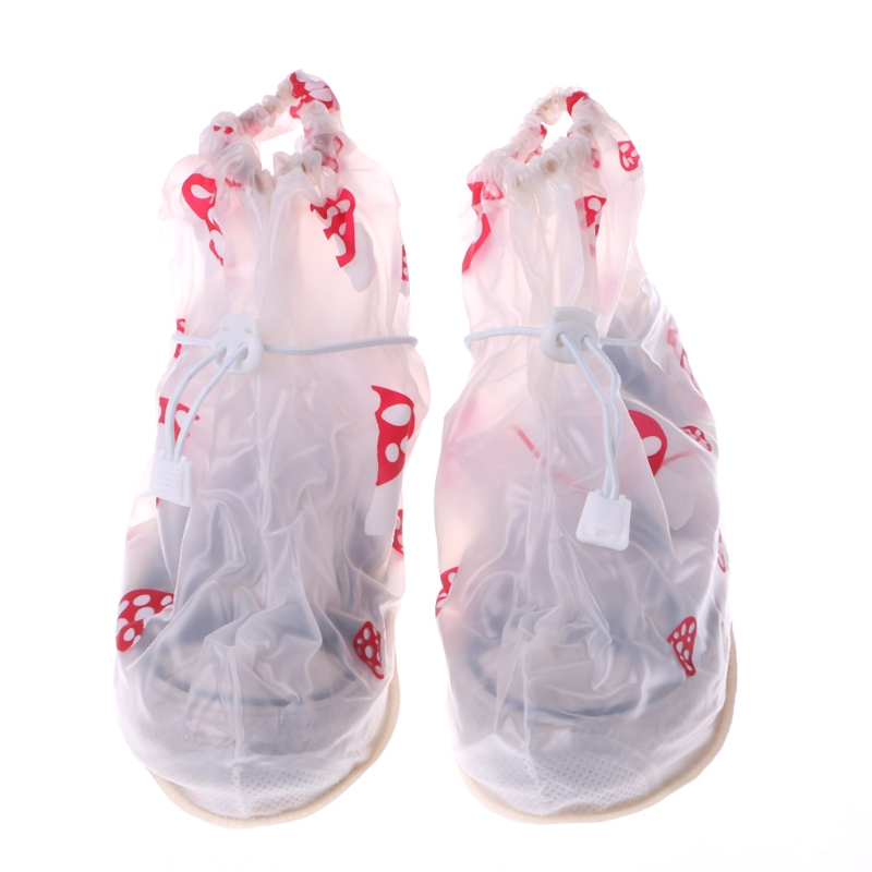 EYKOSI 2017  Children Girl Boys Waterproof Raining Boots Shoes Cover Wear Proof Anti Slip Reusable Mushroom Print Cute Small