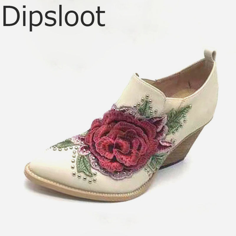 Hot Spring 2017 New British Style Fashion Women White Blue Jeans Embroidery Flower Rivets Slip On Wedge Pumps Casual Shoes f940got lwd c touch panel