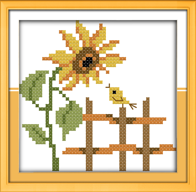 Segar Praktek Menyulam Menjahit Pola Bunga Matahari Cross Stitch Bordir