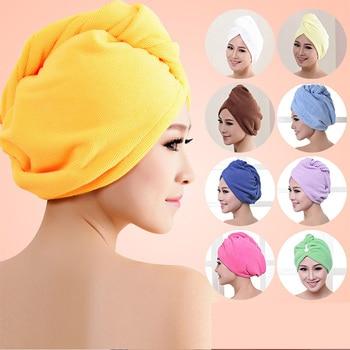 Serviette en Microfibre 1 pièce   Séchage des cheveux, serviette pour femmes filles séchage rapide, chapeau chapeau Turban, bandeau pour la tête, outils de bain