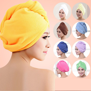 Image 1 - 1pcs  Microfibre After Shower Hair Drying Wrap Womens Girls Ladys Towel Quick Dry Hair Hat Cap Turban Head Wrap Bathing Tools