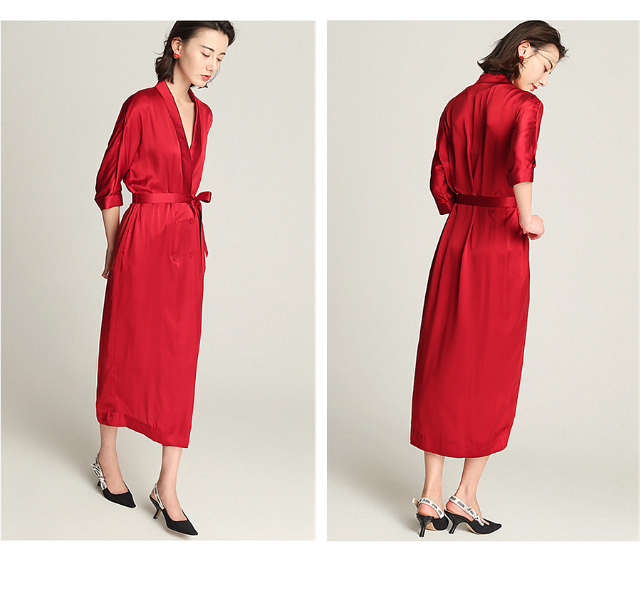 High-end Dress Women 100% Silk Elegant Style Shawl Neck Drop-Shoulder Half Sleeves Sashes Double-breasted Button Fashion 18 9