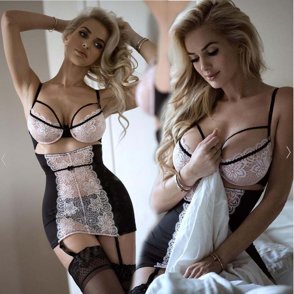 Porn Sexy Lingerie Women Sexy Hot Erotic Baby Dolls Lace Bra Garter Women Lenceria Sexi Mujer Babydoll Underwear Sexy Costumes