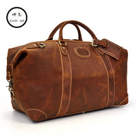 Men's big capacity crazy horse genuine leather travel bag durable duffel real first floor cowhide large shoulder weekend luggage