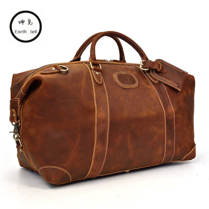 Men's big capacity crazy horse genuine leather travel bag durable duffel real first floor cowhide large shoulder weekend luggage