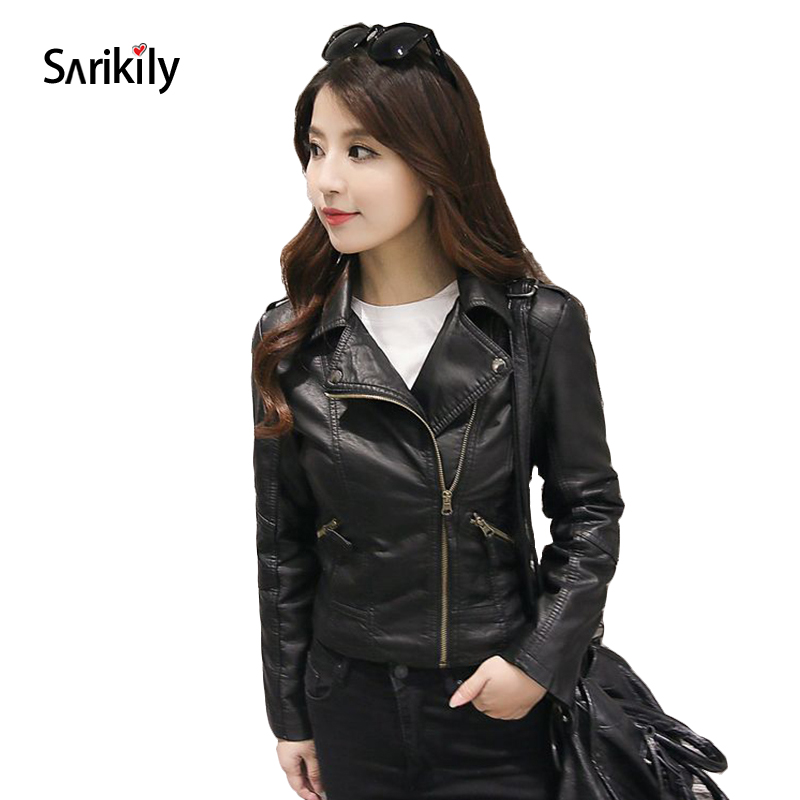 Sarikily 2018 New Autumn Winter Leather Jacket Women Short Black Pink PU Coat Femme Slim ...