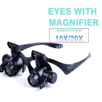 Magnifying Glasses Resin Lupa 10X 20X Eye Jewelry Watch Repair Magnifier Reading Glasses With 2 LED
