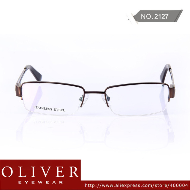 New Retail Designer Fashion Style Half Rim Metal Optical Frames Eyewear Glasses Men High Quality Oliver Brand 2127