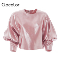 Clocolor Women Top Round Neck Princess Sleeve Slim Solid Pink Plain Pleated Autumn Fashion Modern Girls