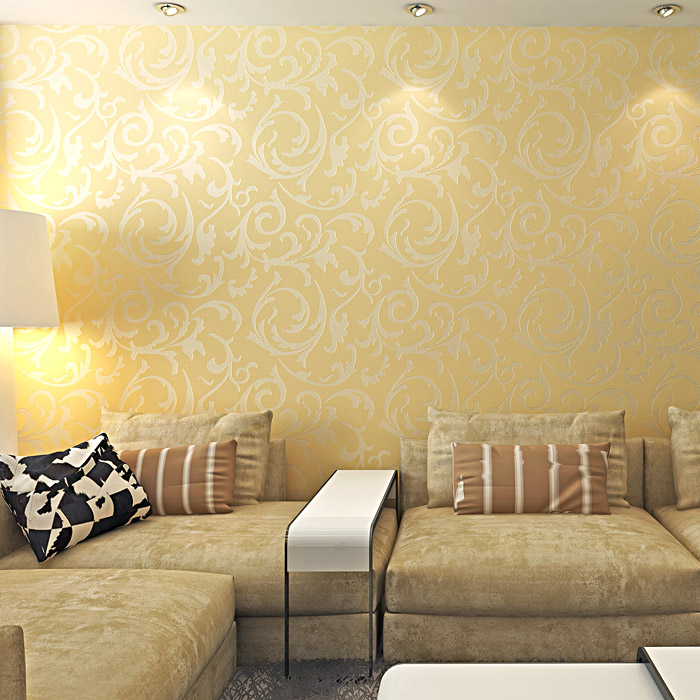 Luxury non woven gold color 3d wallpaper rolls for TV background ...
