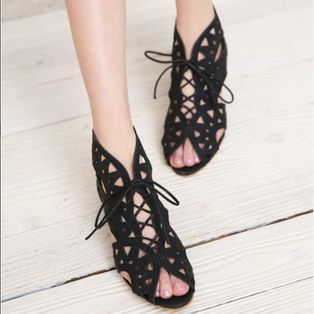 Women's Open Toe Lace-Up Bohemian Sandals
