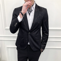 England Slim Small Suit Men's Cool Floral Print Blazer Suit Club Hair Stylist Fashion Tide Men Leisure Coat Male