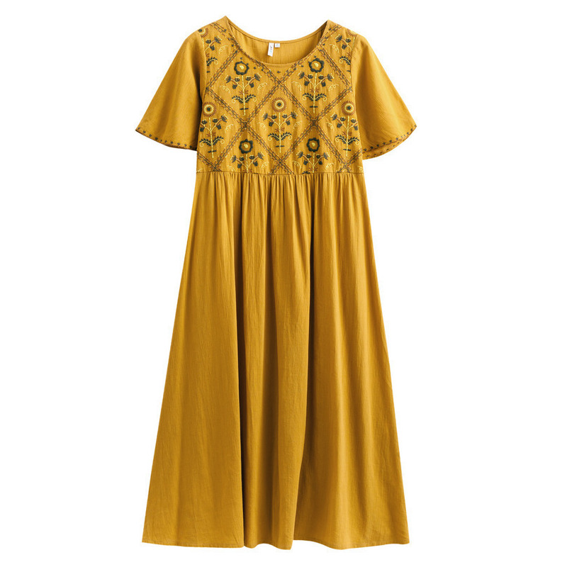 Image 4 - INMAN  Summer Dresses Round Neck Retro Ethnic Embroidery Lady Dresses A Line Cotton Loose High Waist Women DressDresses   -
