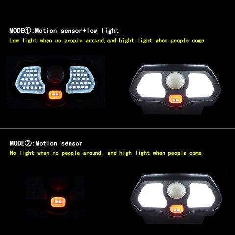 parede sensor movimento pir solar lampada