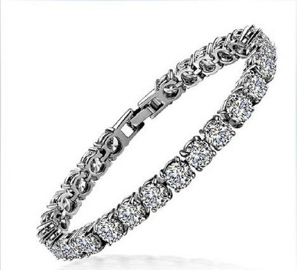 1CT Round Cut Fine Diamond Bracelet for Women Sterling 925 Silver Platinum Plated Engagement Bridal Wedding