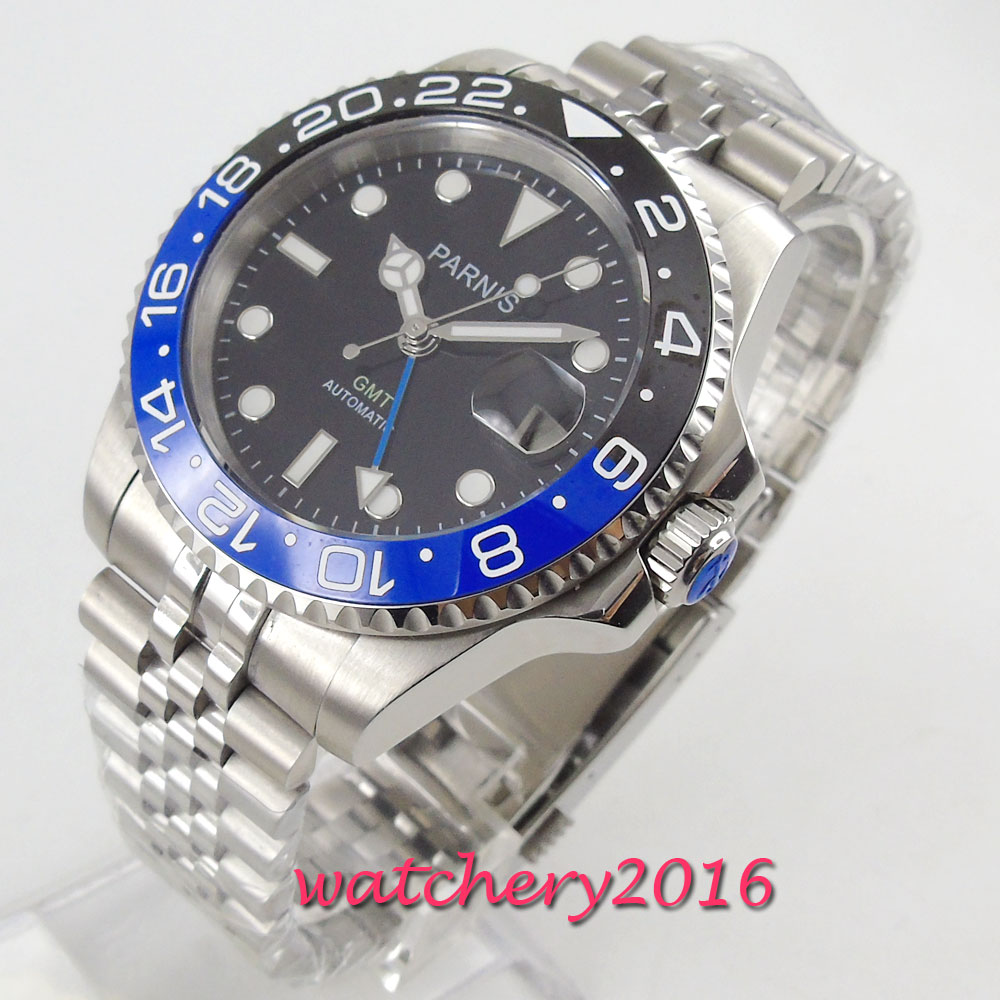 40mm Parnis Mechanical Watches Black Blue Ceramic Bezel black dial GMT luminous marks sapphire glass automatic