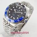 Механические часы Parnis  40 мм  черные  синие  керамические  с черным циферблатом  GMT  светящиеся марки  sapphire glass  автоматические мужские часы