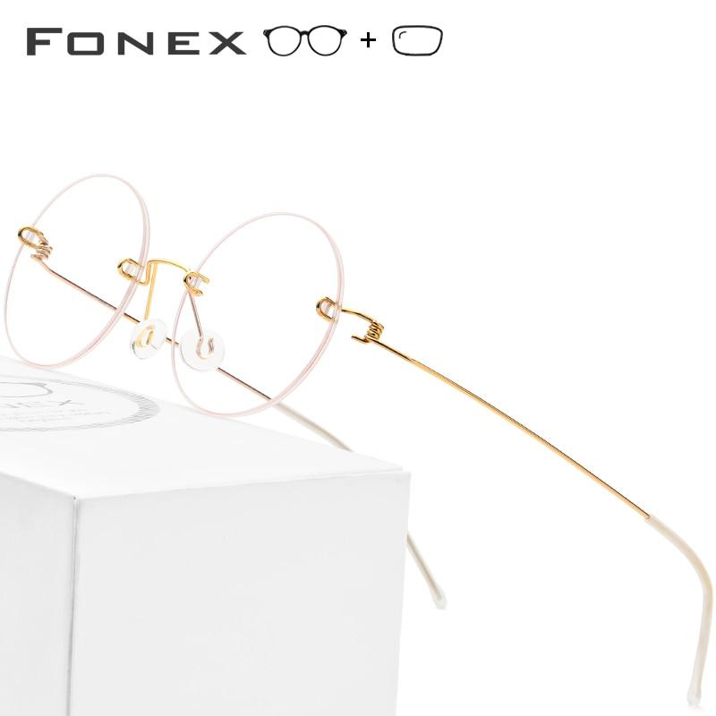 9dc94550a8 Sin tornillos gafas de mujeres sin montura de la Ronda de aleación de titanio  hombres miopía marco óptico (uso MR-8 dureza lentes)