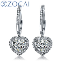 ZOCAI DROP EARRING 0.70 CT CERTIFIED I J / SI DIAMOND DROP EARRINGS JEWELRY LEVERBACK ROUND CUT 18K WHITE GOLD E00898