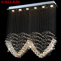 Modern Rectangular Crystal LED Chandelier Pendant Restaurant Bedroom Entrance Hallway Crystal Chandeliers Lamp Fixtures