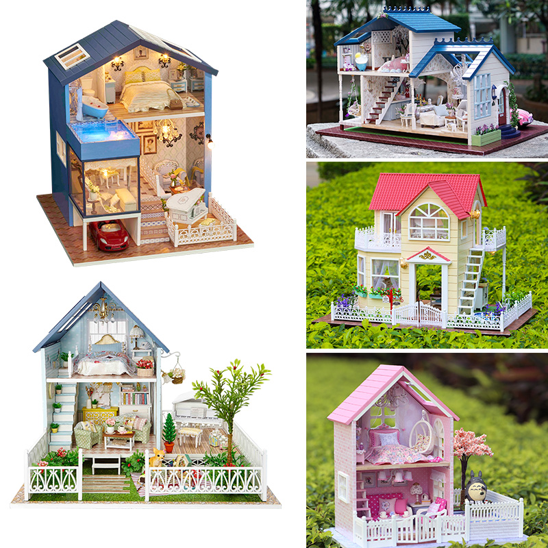 Dollhouse DIY Doll house Miniature Furniture Accessories House Model Wooden Handmade Toys Elegant Birthday Gift For Friend #D