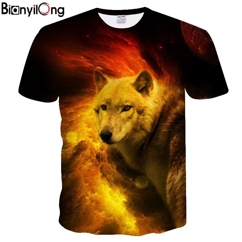 6e98d4678828 BIANYILONG 2018 new 3D tshirt Funny T shirt Men Wolf t-shirt flame Printed  Tees Anime Tops Streatwear Short Sleeve DropShip