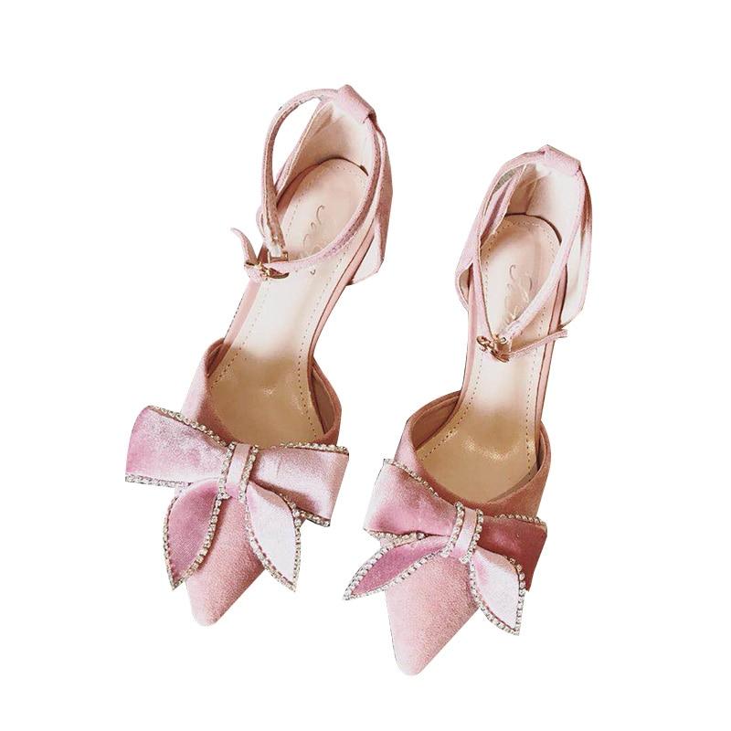 Talons Femmes Chaussures Sangle Suède Doux Rose Filles Princesse Inférieurs 4 Boucle Sandales De Cm Femelle Strass Arc Mot Belle Un Dame gBn5Hq6